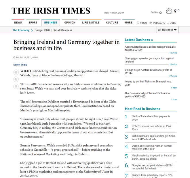 Dr Susan Walsh interviewed in The Irish Times, Feb 2011