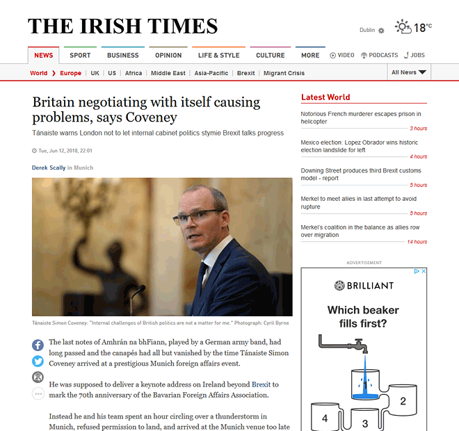 Simon Coveney and Susan Walsh in Irish Times