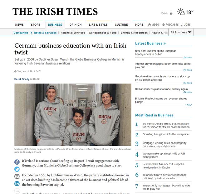 Globe College featured in Irish Times