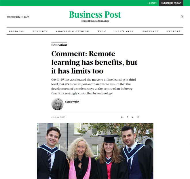 Business Post article by Susan Walsh, 4th June 2020