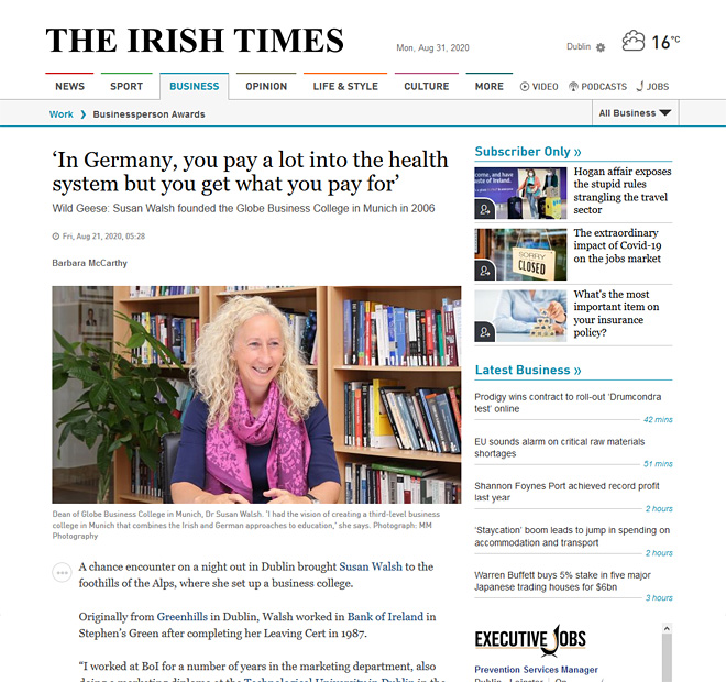 Dr Susan Walsh interviewed in The Irish Times, August 2020