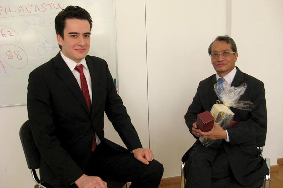 Crown Prince Shwebonmin of Burma with Globe College student
